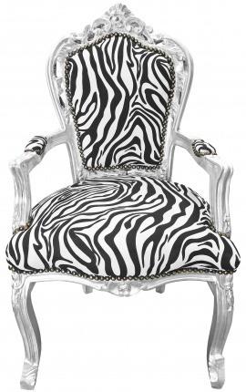 Стиль барокко рококо кресло ткань зебра и серебро дерево
