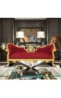 Baroque Napoleon III sofa burgundy red velvet fabric and gold wood