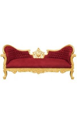 Canapé baroque Napoléon III médaillon tissu velours rouge bordeaux et bois doré