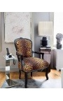 Барокко кресло стиле Louis XV, леопард и черного дерева
