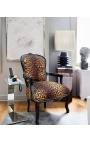 Fauteuil baroque de style Louis XV léopard et bois noir