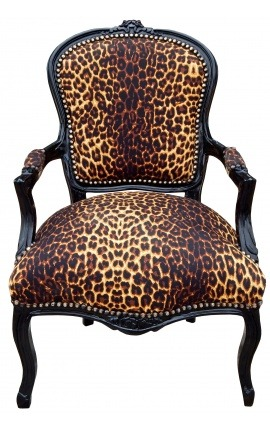 Baroque armchair of Louis XV leopard fabric and lacquered black wood