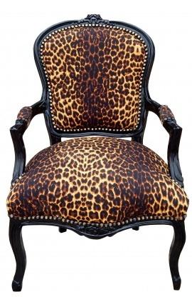 Fauteuil Louis XV de style baroque tissu léopard et bois noir
