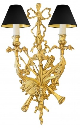 Large Louis XVI style bronze wall light with musical instruments