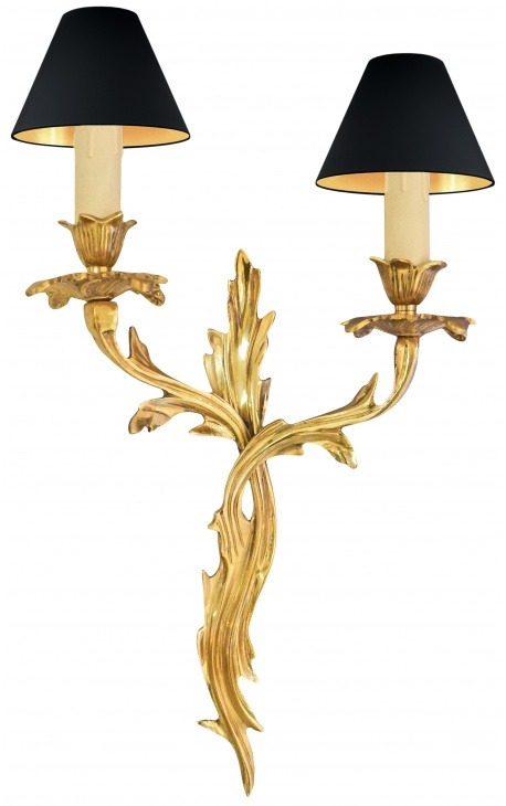 Wall lamp in bronze acanthus leaves Louis XV