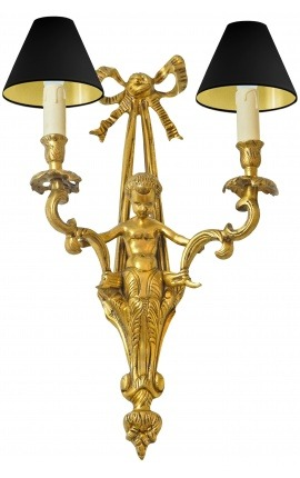 Large wall light bronze Napoleon III style with angel