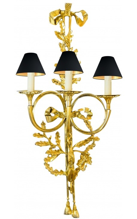Great wall light bronze ormoulu Louis XVI style with three sconces