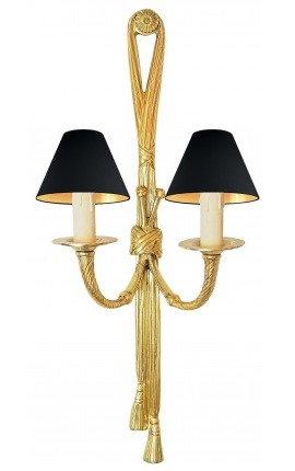 Large wall light gold bronze Louis XVI style with ribbons