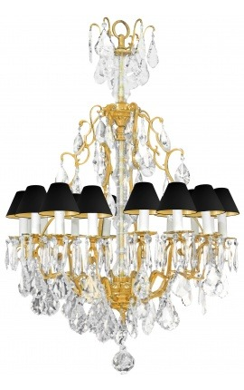 Large bronze chandelier and glass with 16 arms