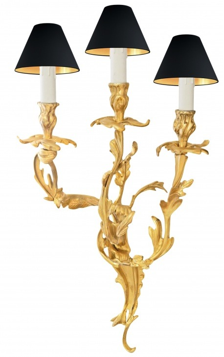 Big sconce 3 branches Louis XV rococo style gold bronze