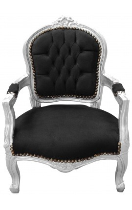 Baroque armchair for child black velvet and silver wood
