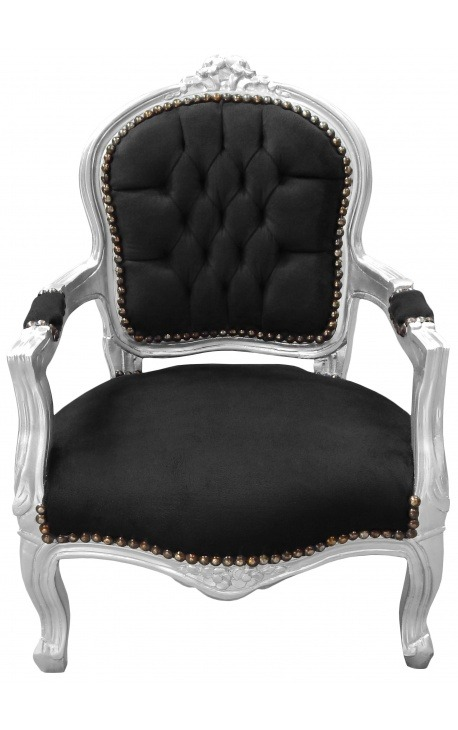 baroque armchair for child black and silver wood