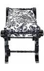 "Banquette ""Dagobert"" tissu motifs floraux noir et bois noir"