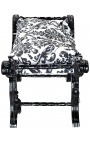 Dagobert bench with black floral pattern fabric and black wood