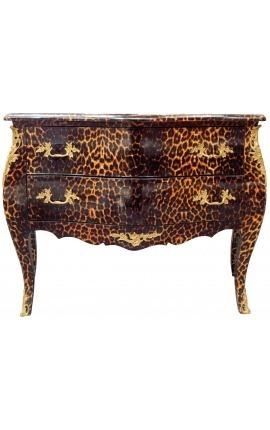 Commode baroque de style Louis XV léopard avec 2 tiroirs et bronzes dorés