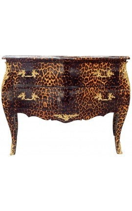 Baroque chest of drawers (commode) of style leopard Louis XV with 2 drawers and gold bronze