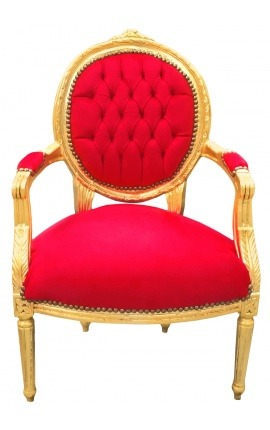 Baroque armchair Louis XVI style red velvet and gold wood