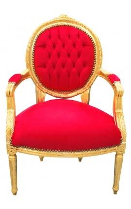 Fauteuil Louis XVI de style baroque velours rouge et bois doré