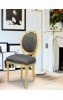 Louis XVI style chair with tassel peas fabric black and gold wood