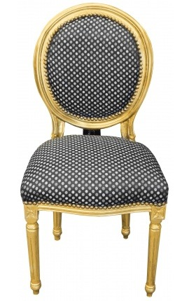 Louis XVI style chair with tassel black satine fabric and gold wood