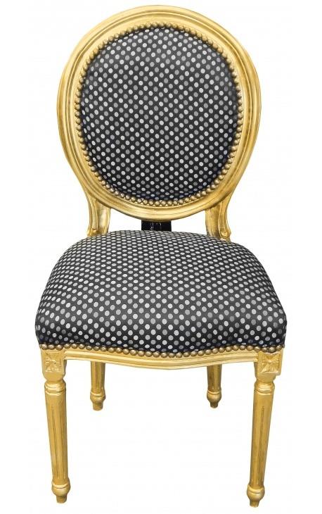 Chaise de style Louis XVI à pompon avec tissu noir à pois et bois doré