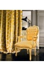 Baroque armchair of Louis XV style golden satin fabric gold wood