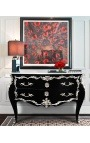 Baroque chest of drawers (commode) of style black Louis XV with silvered bronze and 2 drawers