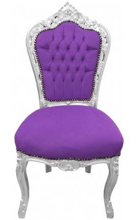 Chaise de style Baroque Rococo tissu velours mauve et bois argenté