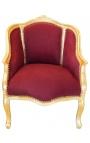 Bergère de style Louis XV tissu velours rouge bordeaux et bois doré