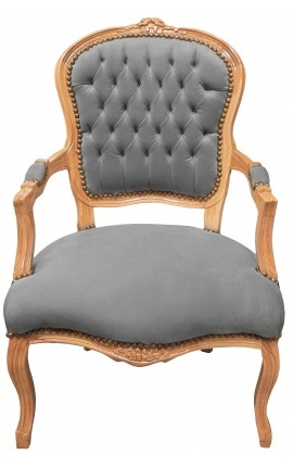 Armchair of Louis XV style grey velvet and natural wood color