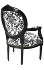 Baroque armchair Louis XVI style with black floral fabric, black wood