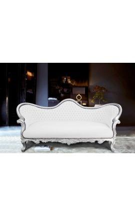 Canapé baroque Napoléon III tissu simili cuir blanc et bois argent