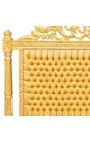 Lit Baroque tissu satiné doré et bois doré