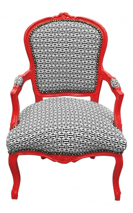[Limited Edition] Baroque armchair Louis XV style geometric fabric and red wood