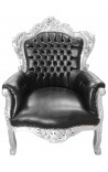 Big baroque style armchair black faux leather and silver wood