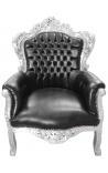 Grand fauteuil de style baroque tissu simili cuir noir et bois argent