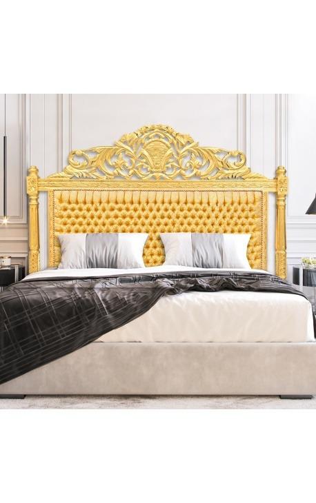 Tête de lit Baroque tissu satiné doré et bois doré