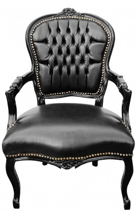 Baroque armchair of Louis XV style black leatherette and black glossy wood