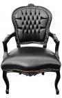 Барокко кресло Louis XV стиле черного искусственной кожи и черного дерева