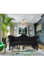 Baroque Sofa Napoléon III black velvet and black lacquered wood