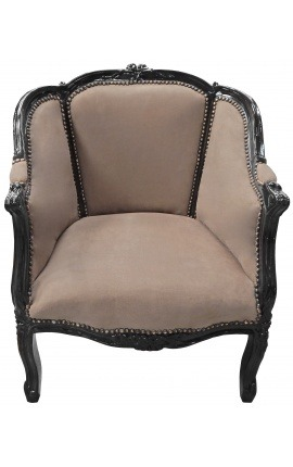 Big bergère armchair Louis XV style taupe velvet and black wood