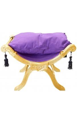 """Banquette """"Dagobert"""" tissu velours mauve et bois doré"""