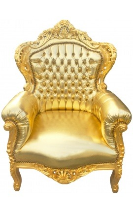 Big baroque style armchair gold leatherette and gold wood