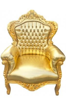 Grand fauteuil de style baroque simili cuir doré et bois doré