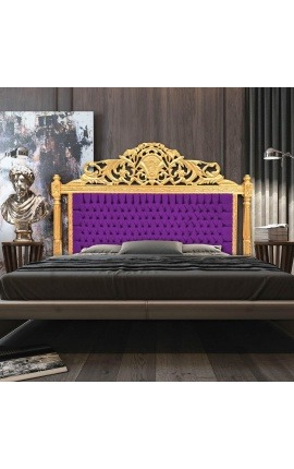 Baroque bed headboard purple velvet fabric and gold wood