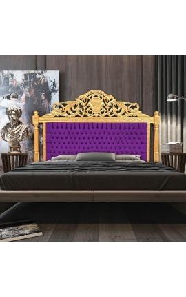 Tête de lit Baroque en velours mauve et bois doré