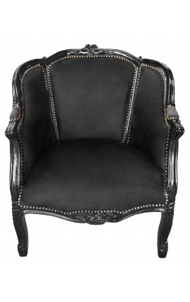 Big bergère armchair Louis XV style black velvet and black wood