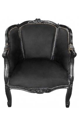 Grande bergère de style Louis XV tissu velours noir et bois noir