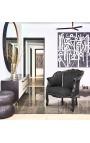 Big bergère armchair Louis XV style black velvet and black wood