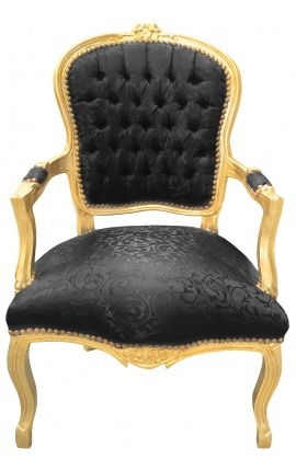 Fauteuil Louis XV de style baroque tissu satiné noir et bois doré